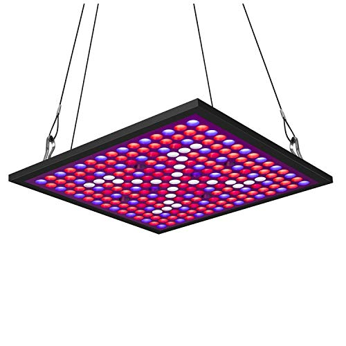 KINGBO 45W LED Plant Grow Light Panel Full Spectrum Reflector 225 LEDs 6-Band Includ UV IR with Switch for Indoor Plants Seeding Micro Greens Clones Succulents