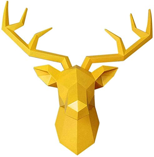 Sculptures Geometric Deer Head Wall Decor,3D Large Animal Head Wall Hanging Statues,Faux Taxidermy Deer Antler Wall Mount for Christmas Sofa Background(Size: 34x28cm(13x11inch),Color:Deer-Yellow)