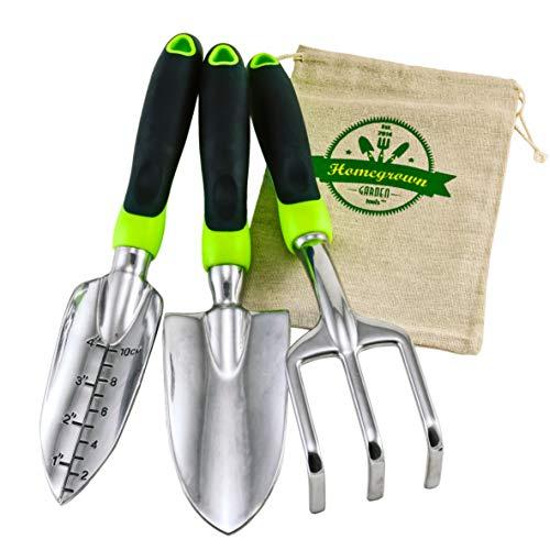 3-Piece Gardening Tool Set with Large Ergonomic Handles; Best for Lawn & Garden Care; Trowel, Transplanter & Cultivator; Includes Burlap Sack - Makes Wonderful Gift