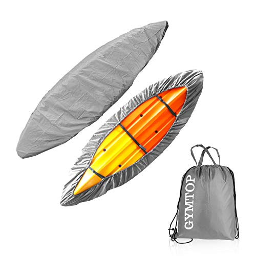 GYMTOP 7.8-18ft Waterproof Kayak Canoe Cover-Storage Dust Cover UV Protection Sunblock Shield for Fishing Boat/Kayak/Canoe 7 Sizes [Choose Color] (Gray(Upgraded), Suitable for 9.3-10.5ft Kayak)