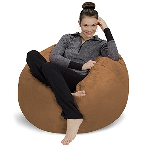 Sofa Sack - Plush, Ultra Soft Bean Bag Chair - Memory Foam Bean Bag Chair with Microsuede Cover - Stuffed Foam Filled Furniture and Accessories for Dorm Room - Cocoa 3'