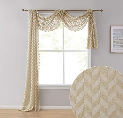 HLC.ME Herringbone Lace Semi Sheer Window Curtain Swag Scarf - 38' W x 216' L Inch (Taupe)