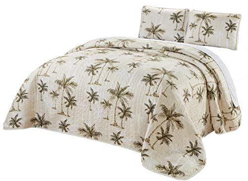 3-Piece Fine Printed Oversize (100' X 92') Tropical Palm Tree Queen Size Quilt Set Reversible Bedspread Coverlet Bed Cover (Beige, Sage Green, Brown)