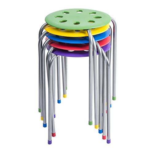 Pearington - PEAR-BW01 Plastic Classroom Furniture Stools for Kids; Multipurpose Stool Chairs; Flexible Seating; Stacking Stools, Stainless Steel Legs,- Set of 5, Multi-Color