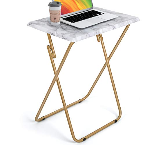 HUANUO Folding TV Tray Table -Stable Tray Table with No Assembly Required, TV Dinner Tray for Eating, Foldable Snack Tables for Bed & Sofa (Marbling)