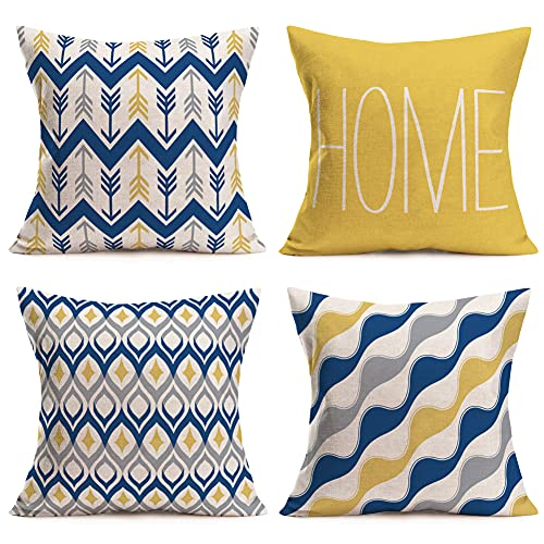 Yameeta Set of 4 Throw Pillow Covers Geometric 18x18 Inch Yellow Blue Farmhouse Home Decor Abstract Accent Arrows Cushion Cover Decorative Modern Outdoor Indoor Pillow Case for Couch, Cotton Linen