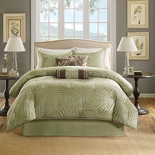 Madison Park Comforter Scenic Design All Season Hypoallergenic Down Alternative Set, Matching Bed Skirt, Decorative Pillows, Queen(90'x90'), Freeport, Palm Leaf Green