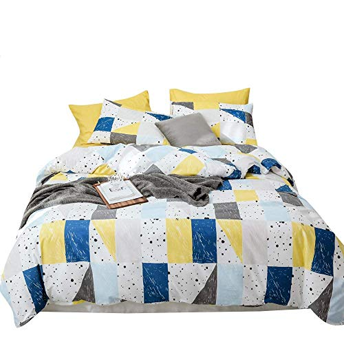 AMZTOP 【Newest Arrival Soft Cotton Yellow-Blue-Plaid Bedding Duvet Cover Set Reversible Plaid Pattern Comforter Cover Set 3 Pcs with Summer Duvet Cover and 2 Pillow Shams Breathable Queen/Full