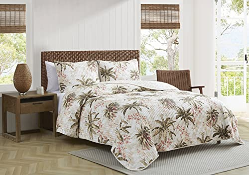 Tommy Bahama   Bonny Cove Collection   Quilt Set-100% Cotton, Reversible, Light Weight & Breathable, Pre-Washed for Added Softness, Queen, White