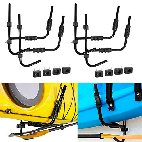 Tengchang 2Pairs Kayak Storage Wall Mount Rack Ladder Surfboard Canoe Steel Folding Hanger