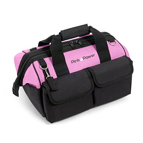 """Pink Power 16"""" Tool Bag for Women with 22 Storage Pockets and Shoulder Strap"""