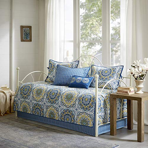 Madison Park Daybed Cover Set-Double Sided Quilting Casual Design All Season Bedding with Bedskirt, Matching Shams, Decorative Pillow, 75 in x 39 in, Tangiers, Medallion Blue