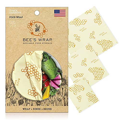 Bee's Wrap - Assorted 3 Pack - Made in the USA with Certified Organic Cotton - Plastic and Silicone Free - Reusable Beeswax Food Wraps in 3 Sizes (S,M,L)