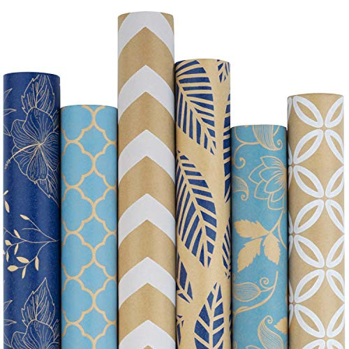 RUSPEPA Kraft Wrapping Paper Roll - Multiple Blue and White Patterns Great for Congrats, Holiday, Chanukah and Special Occasion - 6 Roll - 30 inches X 10 feet Per Roll