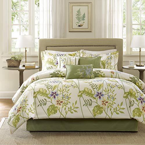 Madison Park Cozy Comforter Nature Scenery Design All Season, Matching Bed Skirt, Decorative Pillows, King(104'x92'), Kannapali, Tropical Garden Green, 7 Piece