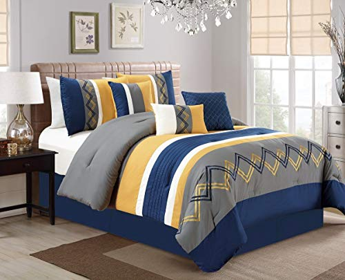 Arden by Chezmoi Collection - 7 Pieces Modern Pleated Stripe Embroidered Zigzag Bedding Comforter Set (California King, Navy/Gray/Yellow/Off-White)