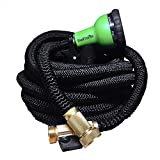 TheFitLife Flexible & Expandable Garden Hose - 25/50/75/100 Ft With Strongest Triple Core Latex & Solid Brass Fittings Free Spray Nozzle 3/4 USA Standard Kink Free Easy Storage Water Hose (75Foot)