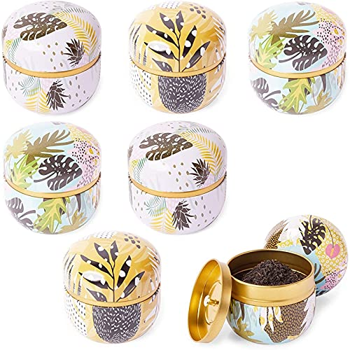 Juvale Tin Jars with Lids for DIY Essential Oils Scented Candles (3.4 Inches, 6 Pack)
