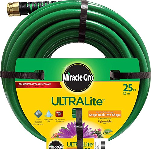 Swan Products MGUL12025 Miracle-Gro ULTRALite Compact Lightweight Garden Hose 25' x 1/2', Green