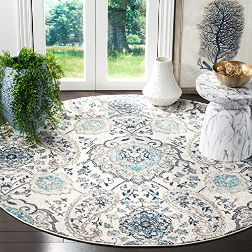 Safavieh Madison Collection MAD600C Boho Chic Glam Paisley Non-Shedding Stain Resistant Living Room Bedroom Area Rug, 6'7' x 6'7' Round, Cream / Light Grey