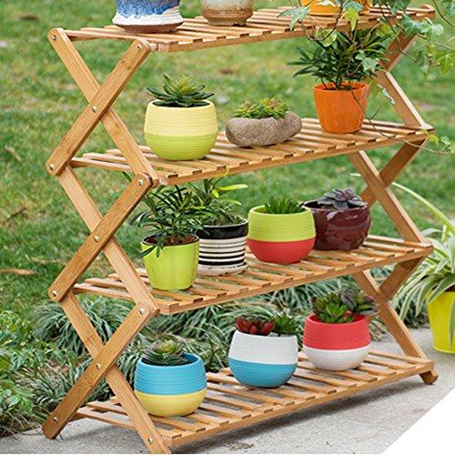 Magshion FOLDSHELF-01 Pot Plant Stand 4 Tier Flower Planter Rack Shelf Shelves Organizer Ga, 27.5'W x 29'H x 11.8'D