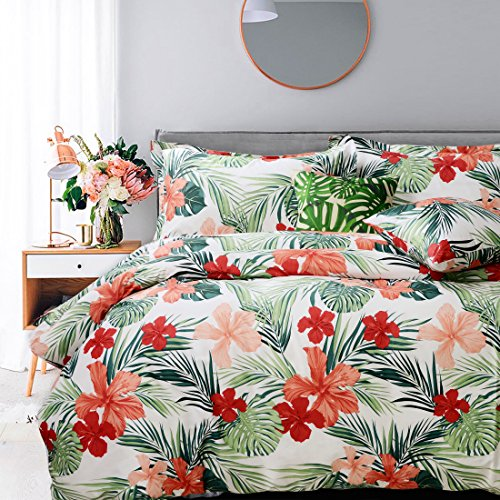 FADFAY Tropical Red Hibiscus Palm Leaves Duvet Cover Set Super Soft Summer Bedding 100% Cotton Soft with Hidden Zipper Closure Queen Size 3-Pieces