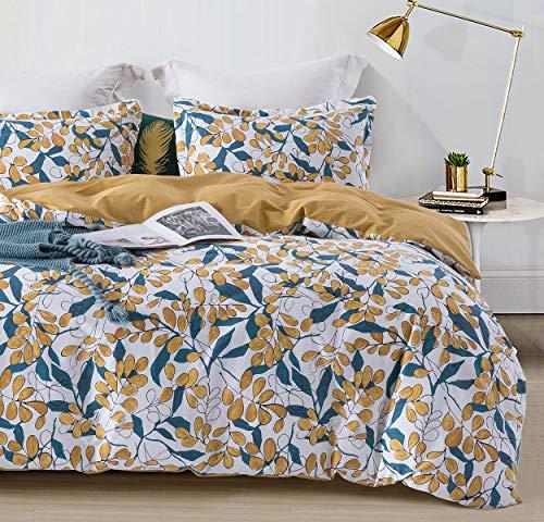 SLEEPBELLA Duvet Cover Set King Size Yellow & Teal Leaves 100% Cotton Bedding Set White Botanical Pattern Comforter Cover 3 Pcs
