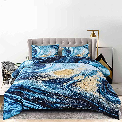 Nanko Comforter Set Queen Size, Dark Blue Marble Print 88 x 90 inch 3pc Reversible Down Alternative Microfiber Duvet Sets Modern Bedding for Women Men Teen, Teal Galaxy Art Gold