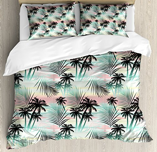 Ambesonne Hawaii Duvet Cover Set, Summer Season Palm Trees and Exotic Fern Leaves with Abstract Colorful Background, Decorative 3 Piece Bedding Set with 2 Pillow Shams, Queen Size, Almond Green