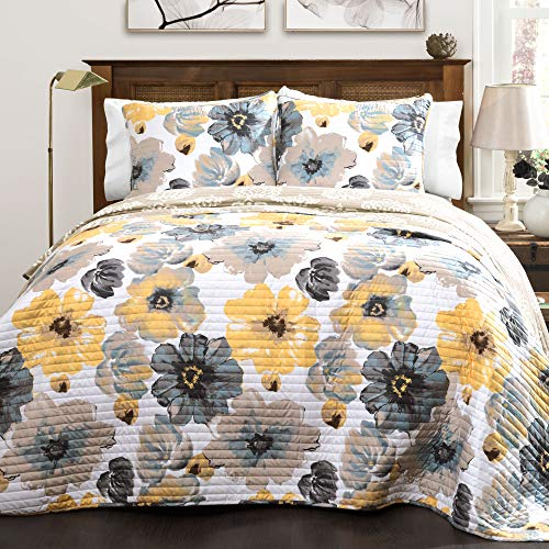 Lush Decor Leah Quilt Floral 3 Piece Reversible, Full/Queen, Yellow & Gray
