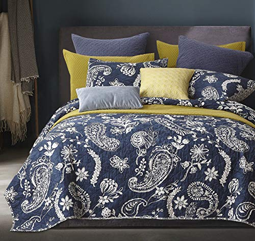 PHF 100% Cotton Quilt Coverlet Set King Size, 3PCS Luxurious Printed Boho Paisley Bedspread, Ultra Cozy Chic Reversible Floral Bed Spread for All Season, 1 Coverlet and 2 Pillow Shams, Navy Blue