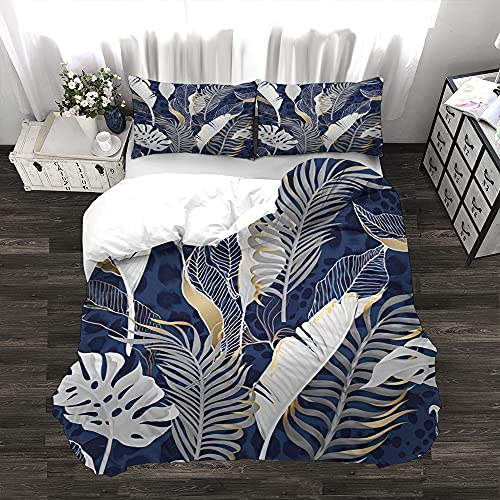 Hosima Tropical 3 Pcs Duvet Cover Set Seamless Pattern with White Leaves with Gold Elements on Blue Background 1 Duvet Cover+2 Pillowcases Soft Polyester Bedding Sets for Bedroom Full Size
