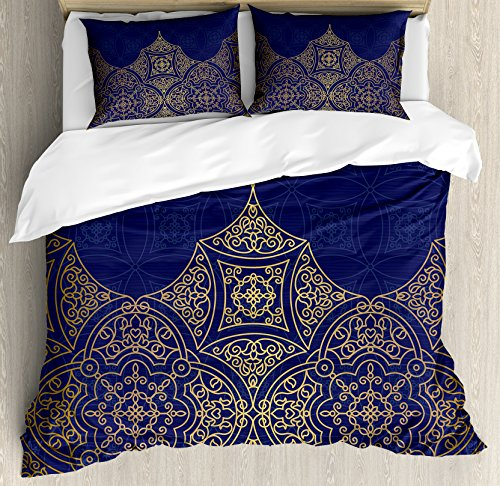Lunarable Navy Blue and Yellow Duvet Cover Set, Middle Eastern Style Ornament Ottoman Culture Inspired Pattern, Decorative 3 Piece Bedding Set with 2 Pillow Shams, Queen Size, Navy Blue