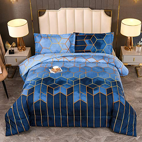 YEARNING Blue Comforter Set Queen Size, Marble Geometric Design Pattern Printed Bedding Sets Soft Microfiber Quilt with 2 Pillowcase