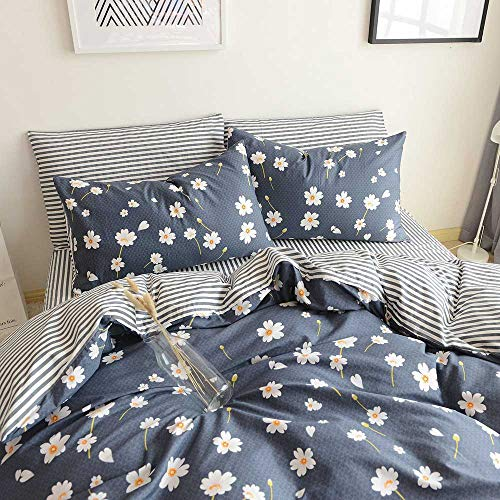Duvet Cover Queen Floral Bedding Sets Full Shabby Chic Boho Cotton Duvet Cover Queen Size Comforter Cover Set Reversible Striped Bedding Sets Full/Queen Size (Queen, Daisy)
